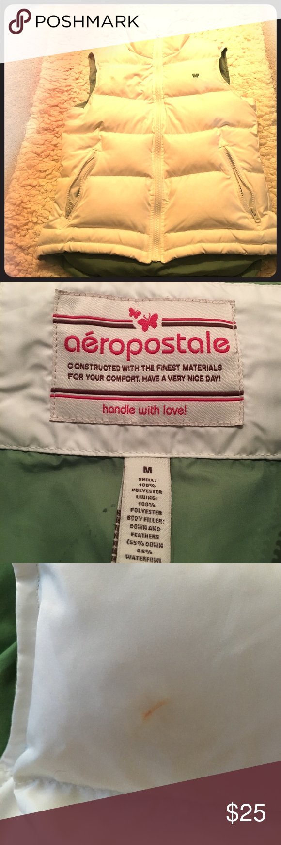 Aeropostale white and green high collared vest One tiny makeup stain (may come out) but otherwise great condition Aeropostale Jackets & Coats Vests