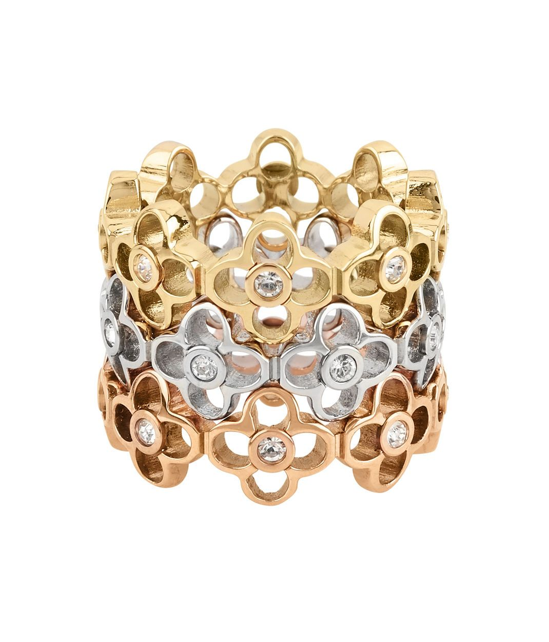 6e303a0e3f0 Proclaim your Bendel Girl beauty with the Iconic Charm Stack Ring. Crafted  with contrasting gold