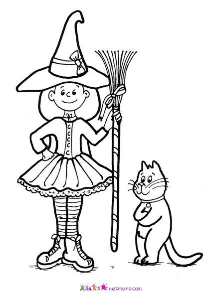 Witch and cat Halloween pictures to print off Netmums