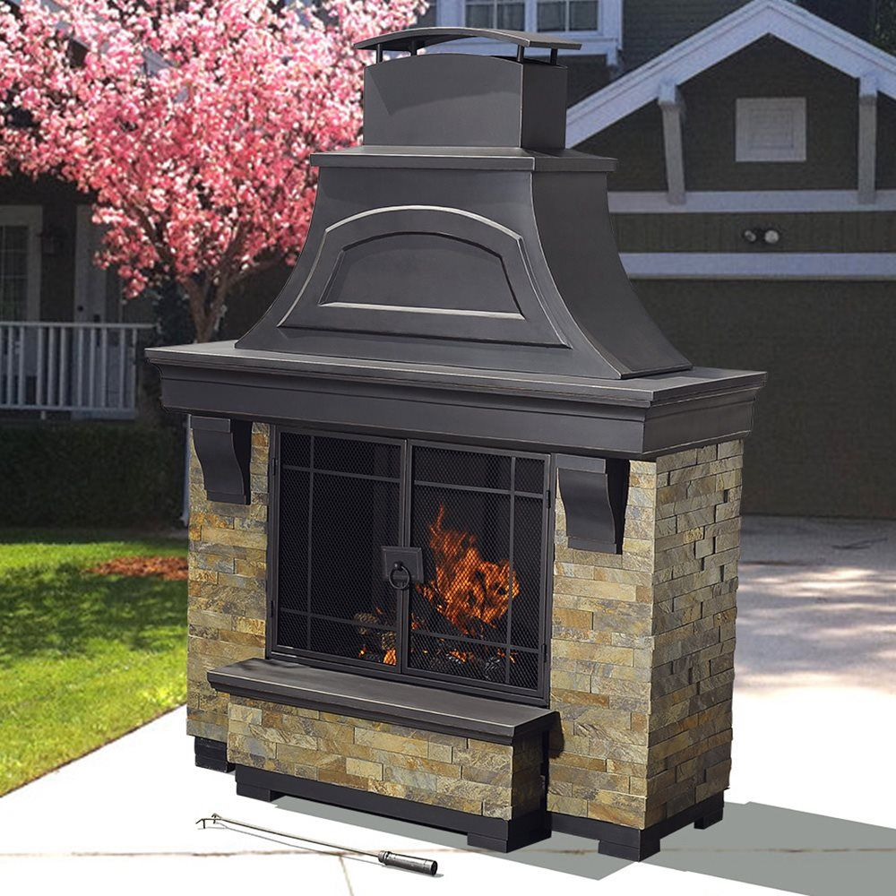 Sunjoy D-OF134PST-B Lennon Fireplace | Lowe's Canada ... on Lowes Outdoor Living id=61214