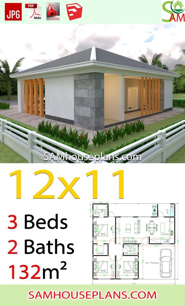 House Plans 12x11 With 3 Bedrooms Hip Roof Sam House Plans House Plans Hip Roof Affordable House Design