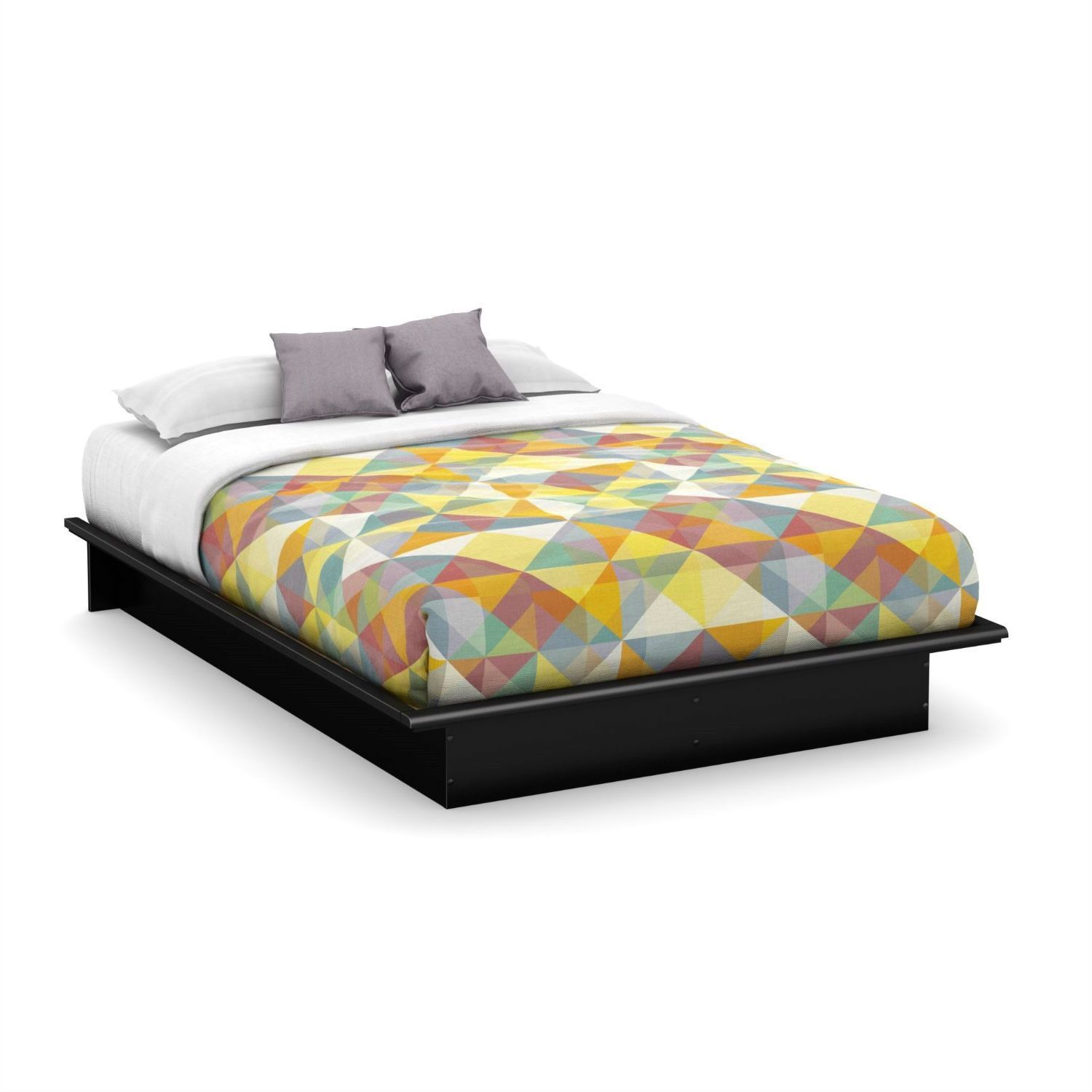 Best Queen Size Platform Bed Frame In Modern Black Wood Finish 400 x 300