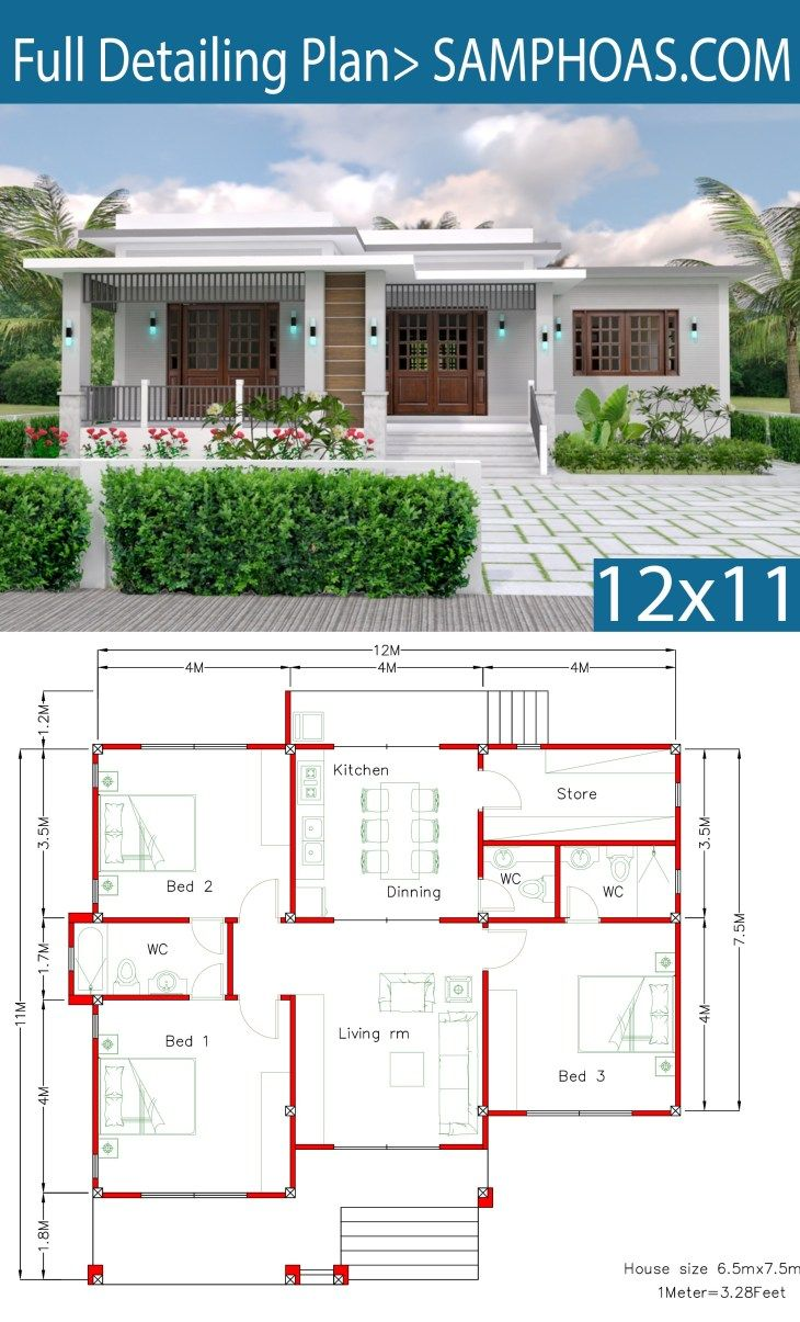 House Design With Full Plan 12x11m 3 Bedrooms Samphoas Com Simple House Design House Plans Bungalow House Plans