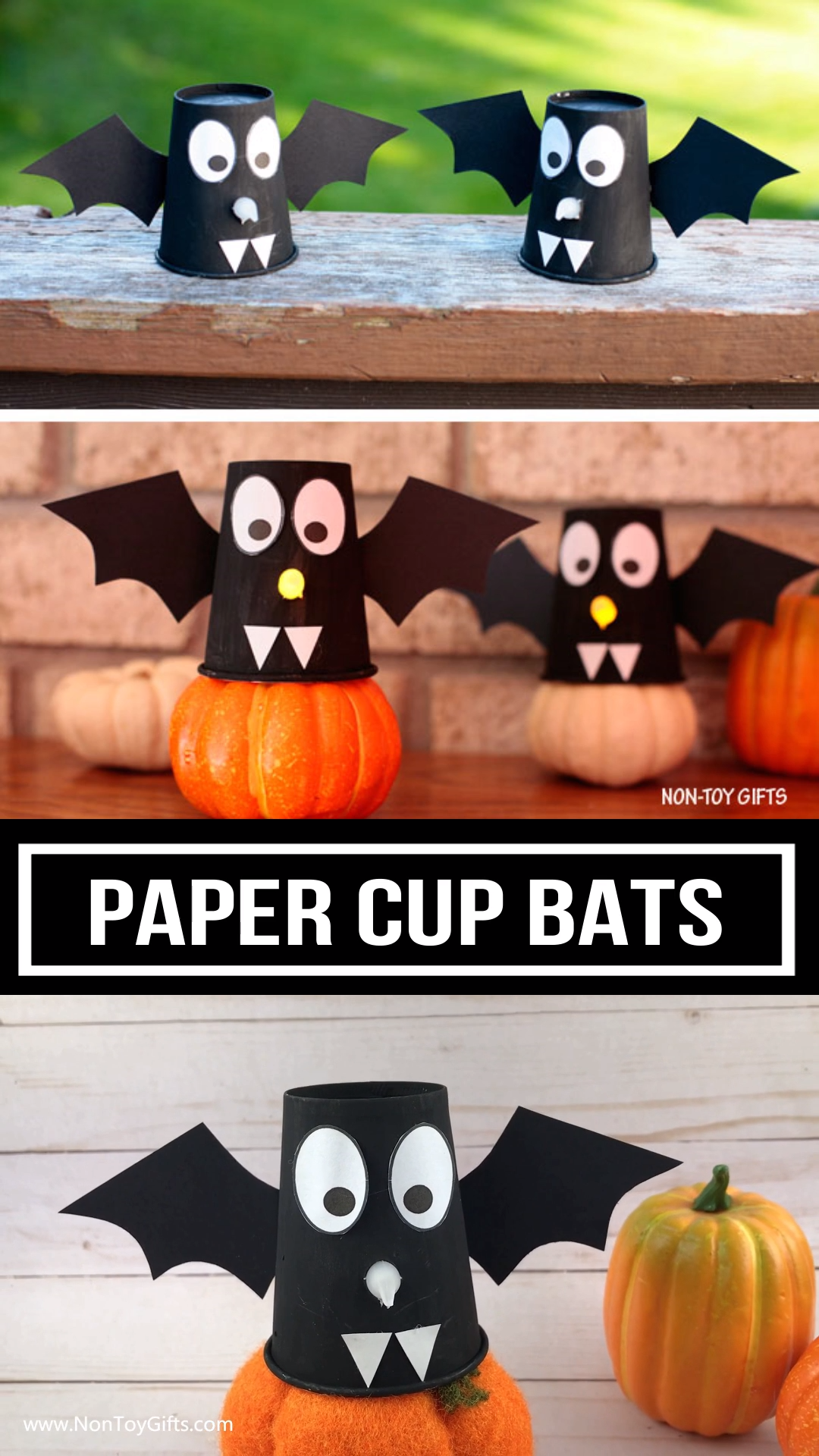 Paper cup bats #halloweencraftsfortoddlers