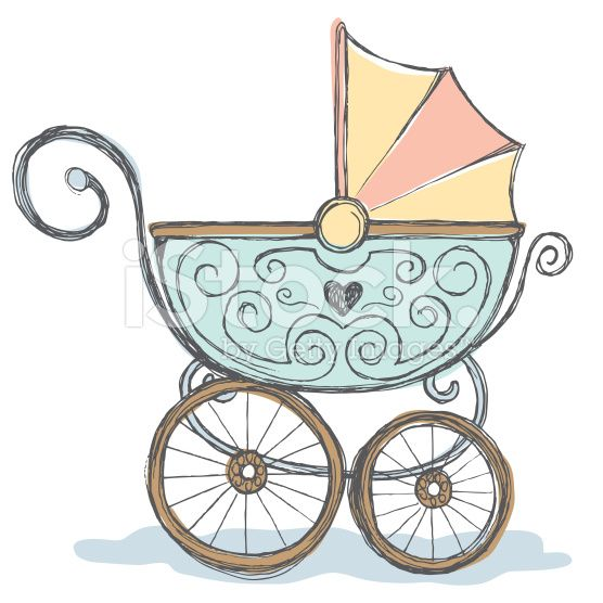 Hand Drawn Pen And Ink Color Rendering Of Baby Stroller Baby