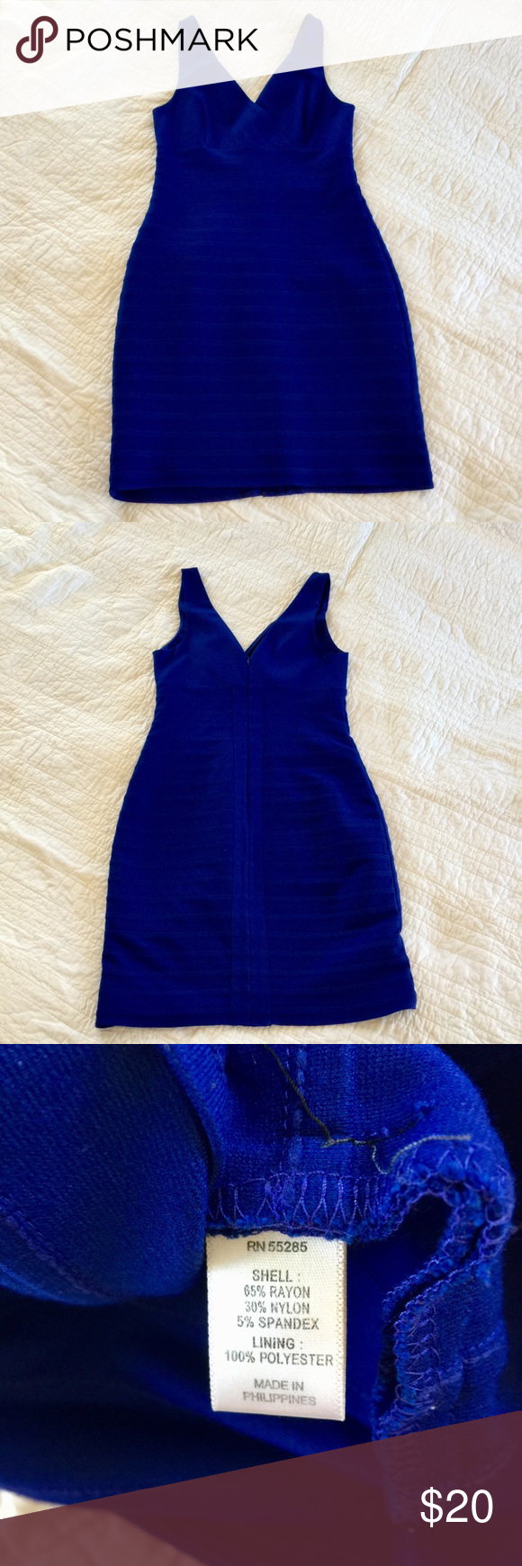 Blue bandage body con cocktail dress by Express   Blue cocktail ...