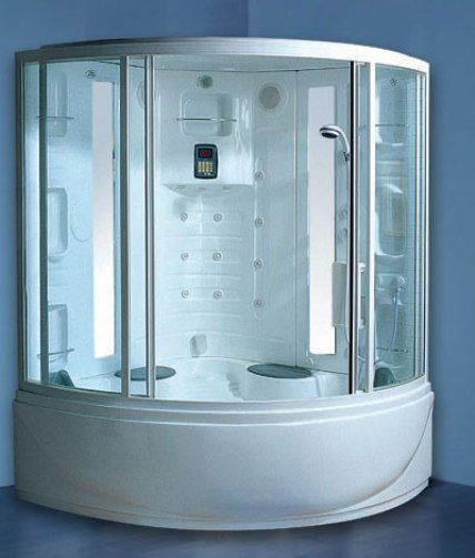 Wasauna Spectrum Steam Shower Tub 2 Persons Capacity 9 Hydro Massage Jets Ceiling Rain A Movable Hand Show Modern Bathroom Design Shower Tub Shower Cabin