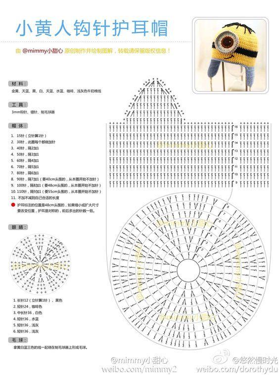 0af494489ac61 gráfico da touca do minions em crochê Ganchillo Para Hombres
