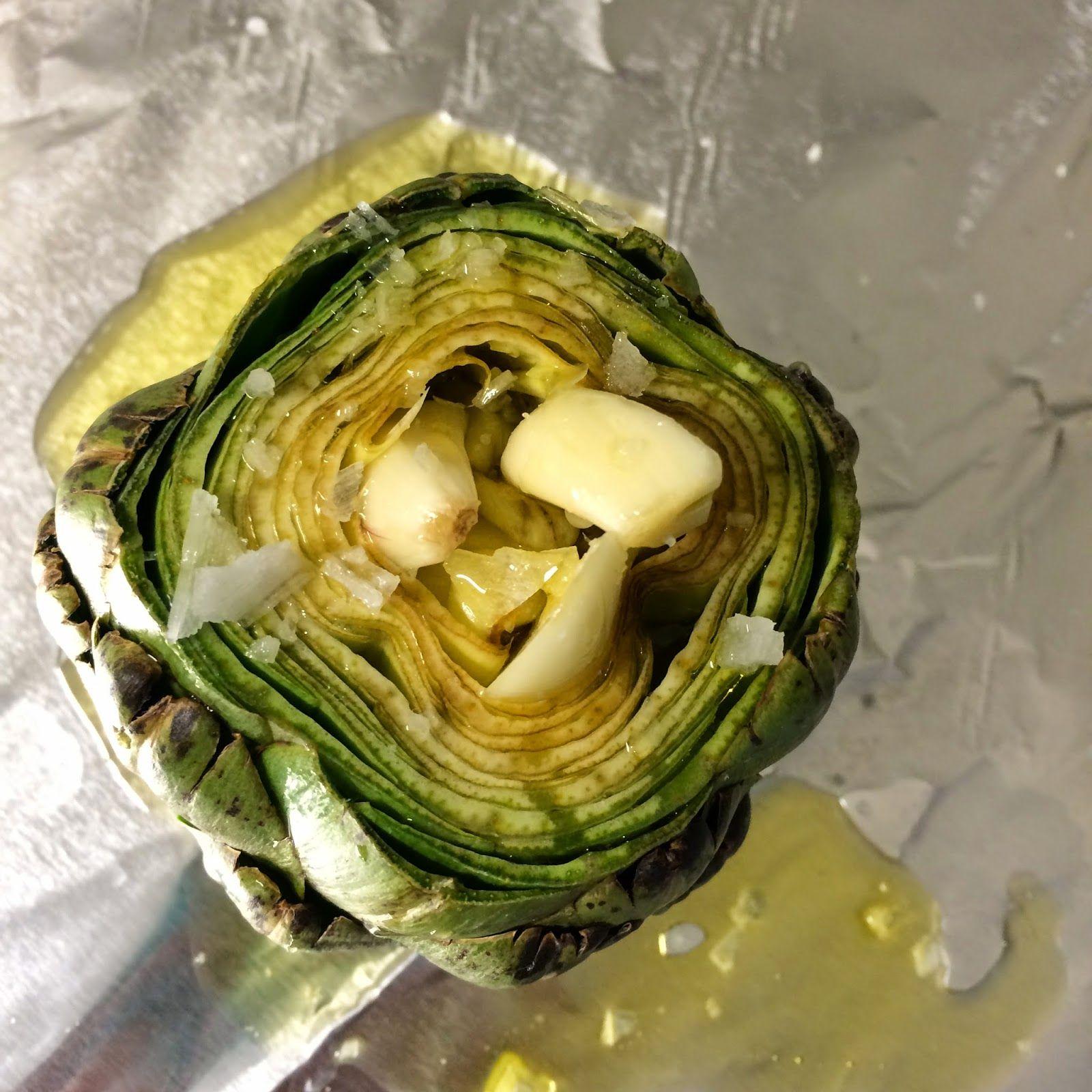 Garlic stuffed roasted artichoke