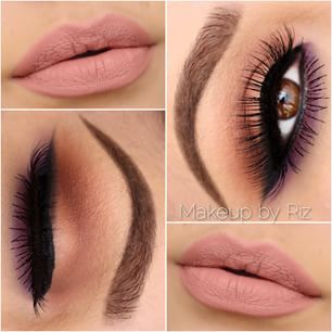 Gorgeous minimal bronze and brown smokey eye with black winged liner and purple underneath the lower lash line finished off with a nude matte lip...x