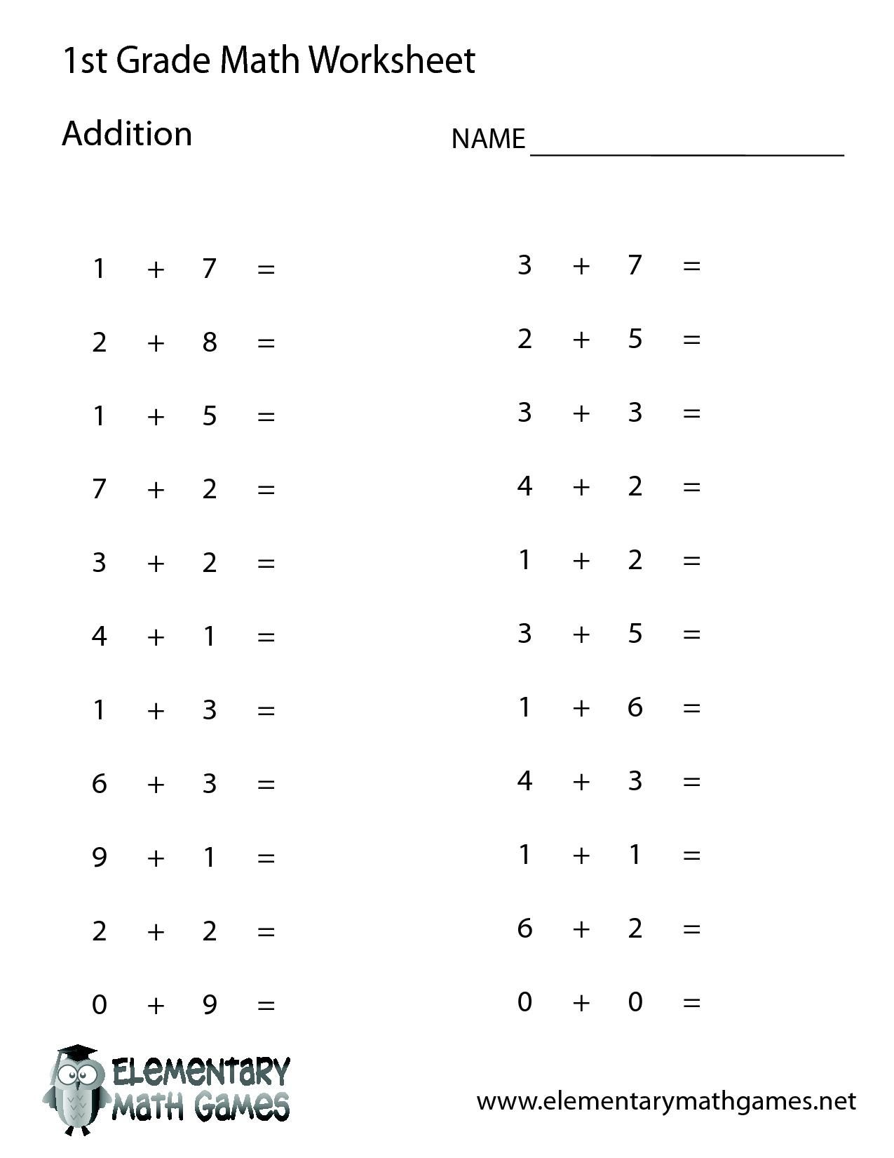 Free Printable Math Addition Worksheets For First Grade In 2020
