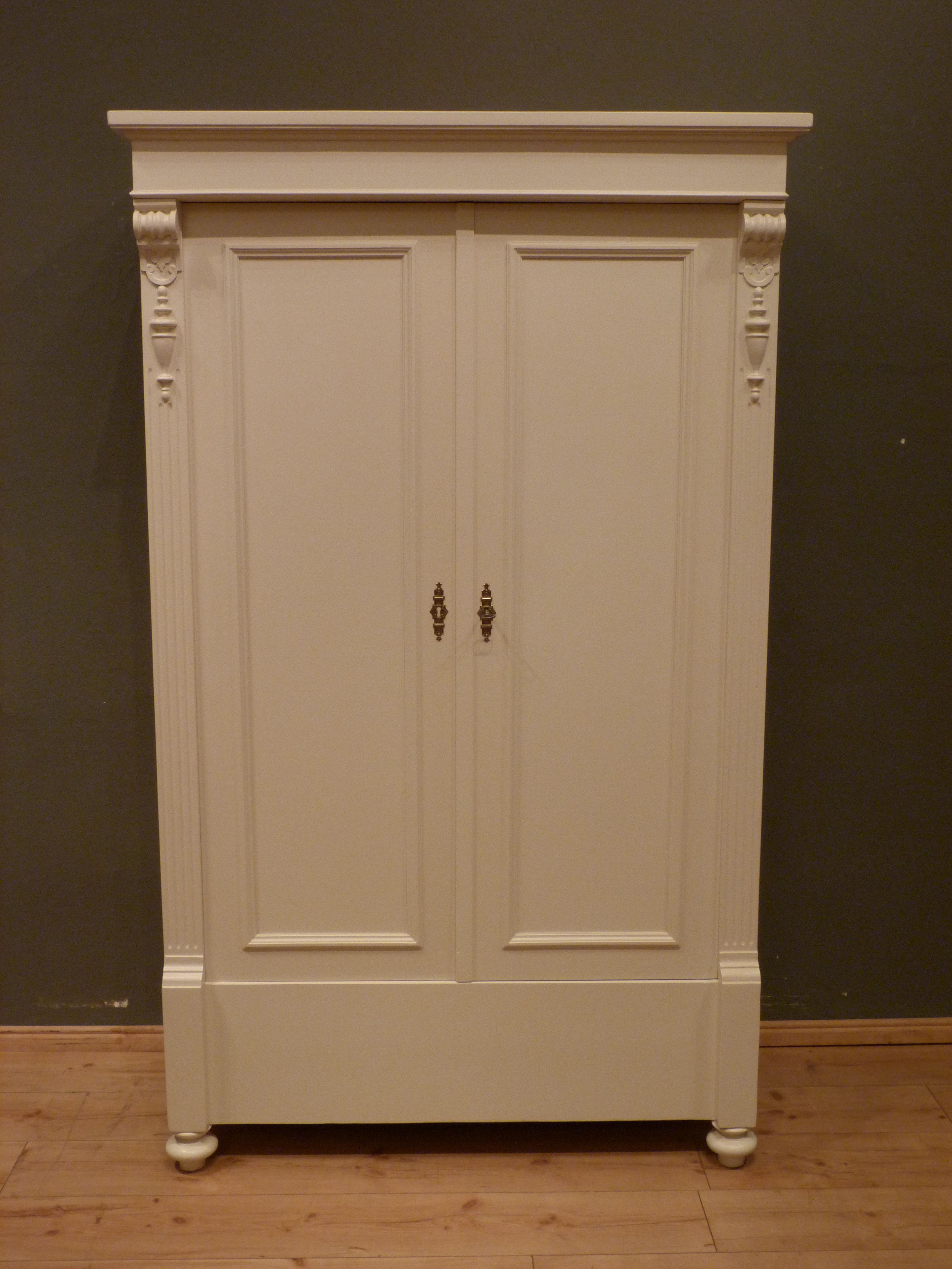 Gründerzeit Kleiderschrank Fichte Weiss Lasiert Um 1880