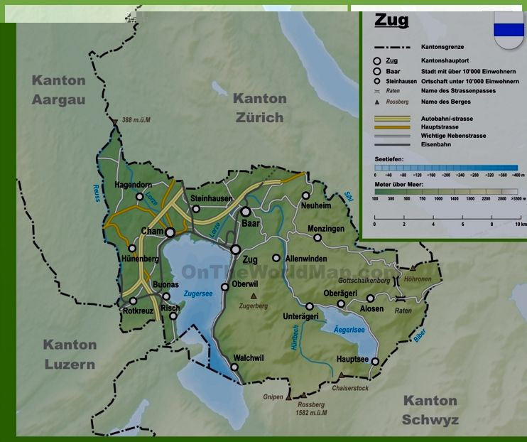 Canton of Zug map with cities and towns Maps Pinterest
