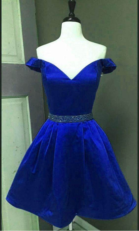 09d9b85f2cd Off the Shoulder Royal Blue Satin Homecoming Dress Custom Made Short Prom  Dress YDP0001