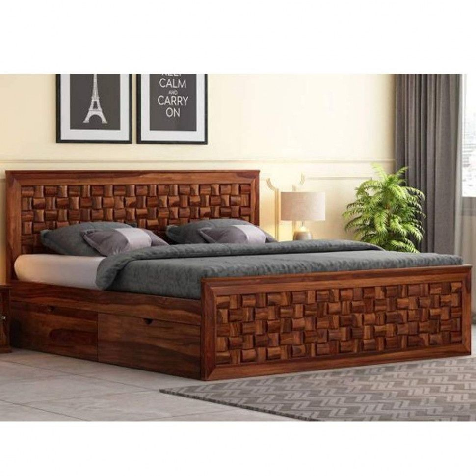 Furny Chexon Teak Wood Queen Size Bed With Storage Teak From Ghana 8 Years Life With Furny Assurance Bed Design Modern Sofa Bed Design Bed Furniture Design