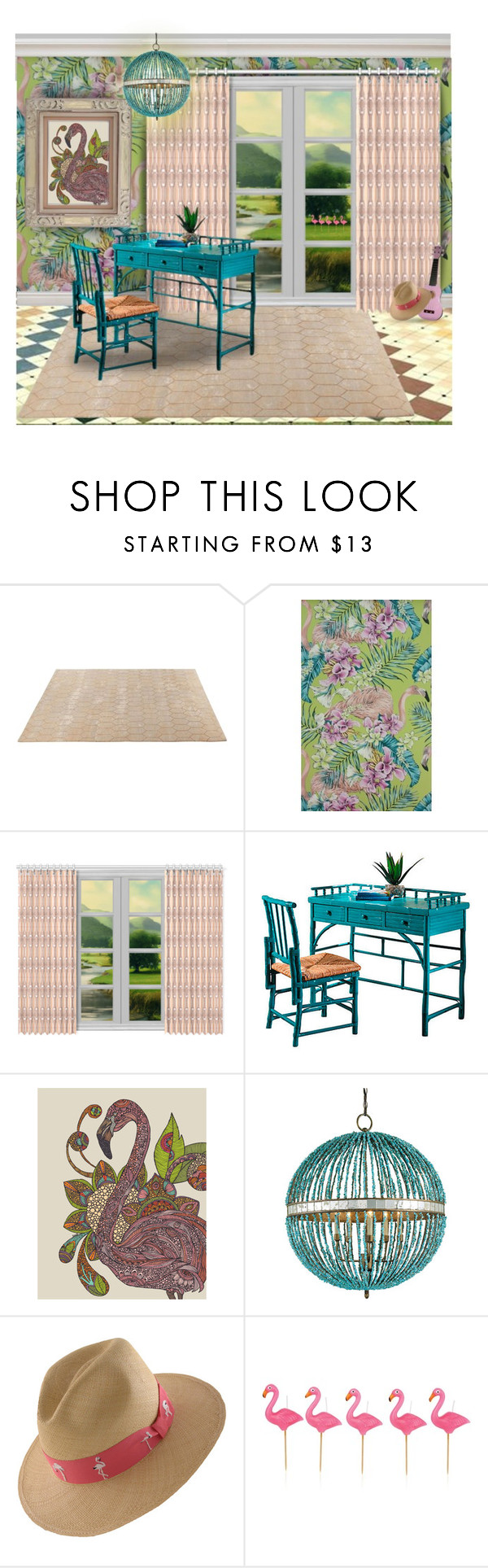 """Try Concentrating at the Flamingo Desk"" by jesking ❤ liked on Polyvore featuring interior, interiors, interior design, home, home decor, interior decorating, ABC Italia, Matthew Williamson, LORENZ and Sunnylife"