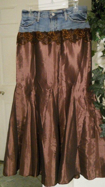 Rose Du Bois Bohemian Jean Skirt Dark Mauve Rose Shimmery Copper