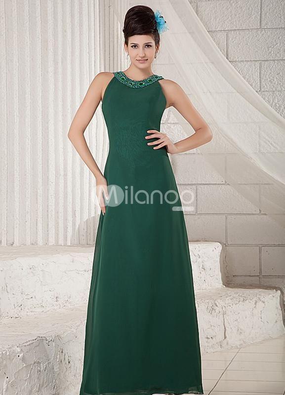 Dark Green Jewel Neck Beading Chiffon Elastic Woven Satin Evening Dress. Dark Green Jewel Neck Beading Chiffon Elastic Woven Satin Evening Dress. See More Elastic Woven at http://www.ourgreatshop.com/Elastic-Woven-C970.aspx