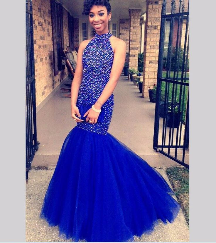 Luxury Prom Dresses Beaded Mermaid Royal Blue Ball Gown Prom Dress 2017 High Neck Royal Blue Tulle Backless Long Prom Party Gowns,  #Backless #Ball #Beaded #Blue #dress #Dresses #Gown #Gowns #High #long #longpromdressmermaid #Luxury #Mermaid #Neck #Party #prom #Royal #Tulle