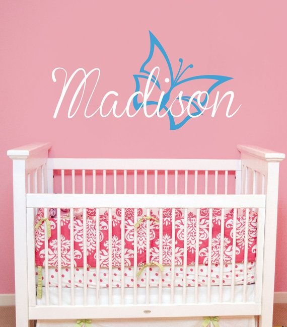 Children Butterfly Wall Decal Vinyl Sticker Personalized Name With - Personalized custom vinyl wall decals for nurserypersonalized wall decals for kids rooms wall art personalized