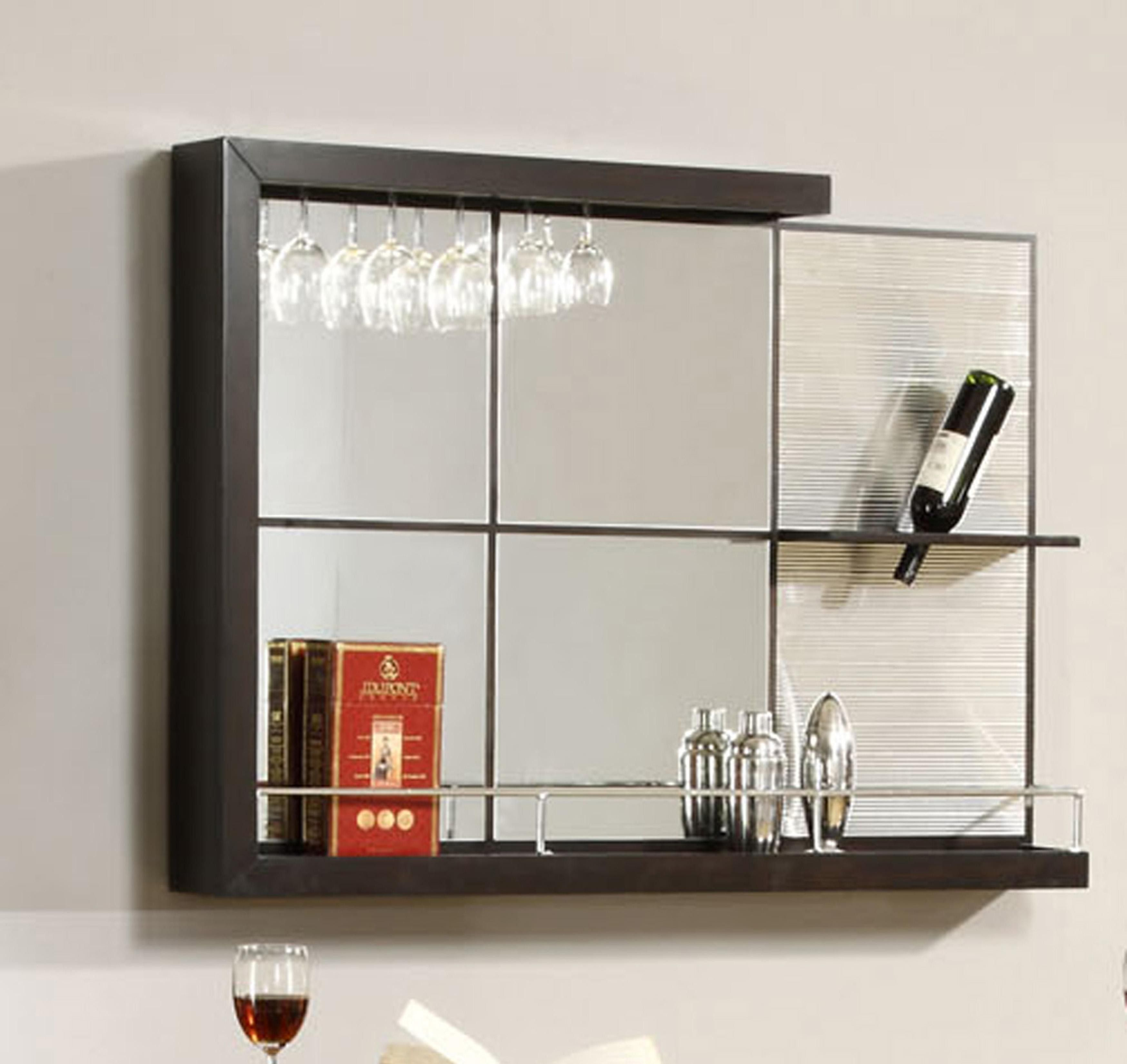 MM Furniture Havana Contemporary Wall Mirror Bar and Wine Cabinets