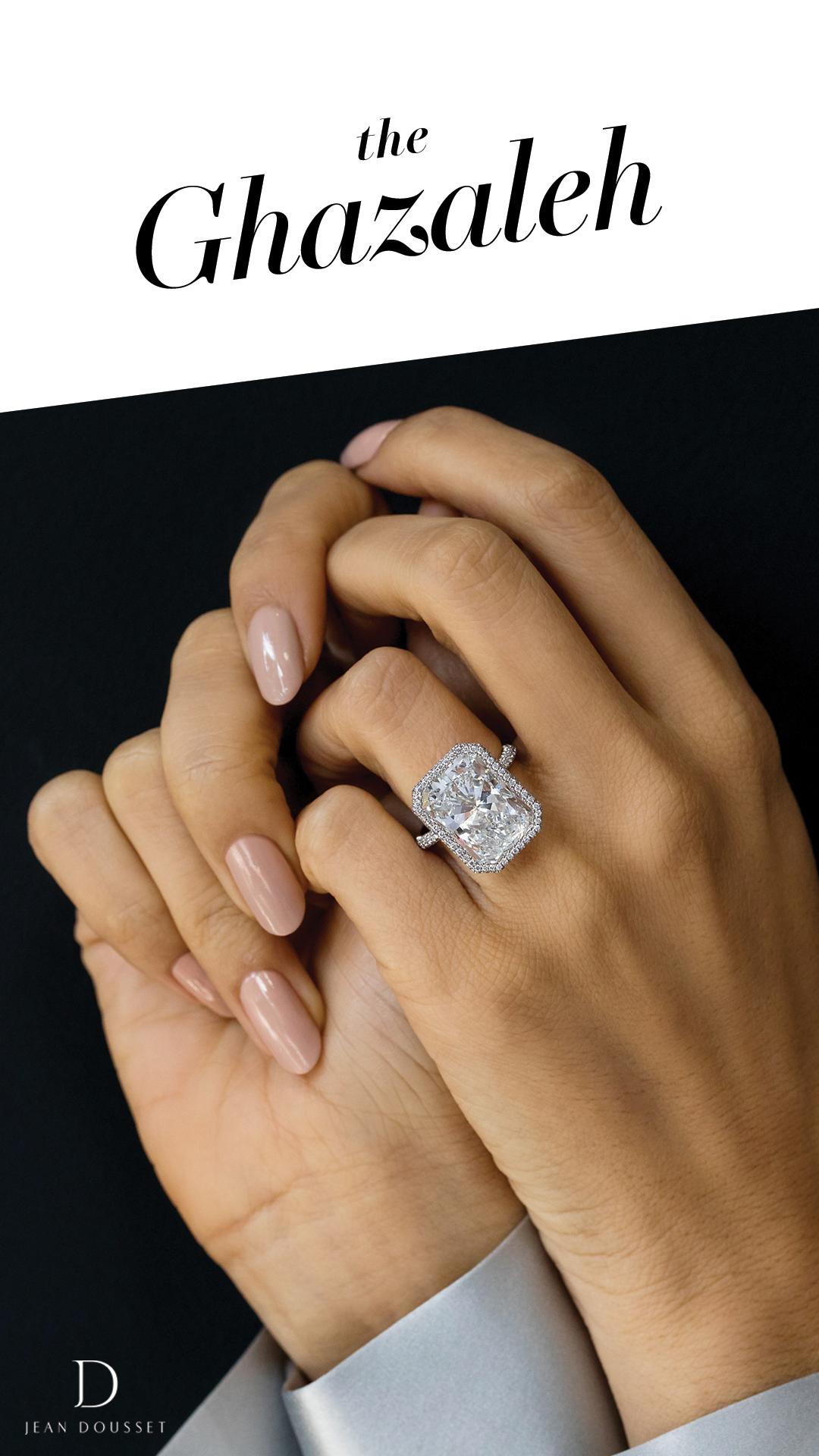 Meet Ghazaleh 325 Brilliant Accent Stones Moissanite Engagement Ring White Gold White Gold Engagement Rings Vintage Vintage Engagement Rings Unique