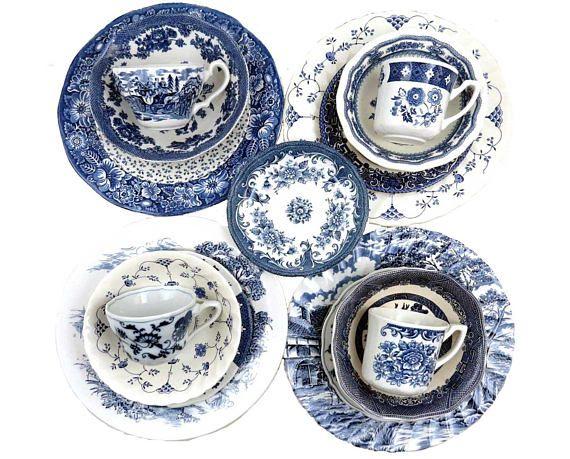 Vintage Mismatched Dinnerware Set 20 Piece Serves 4 Blue  sc 1 st  Pinterest & Vintage Mismatched Dinnerware Set 20 Piece Serves 4 Blue ...