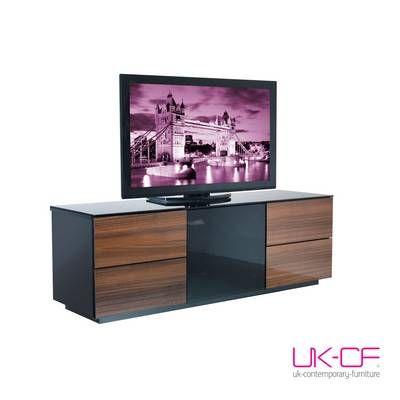 Uk Cf London Designer High Gloss Black Walnut Tv Stand With Smoked