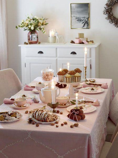 adventskaffee tischdeko in zartem rosa advent. Black Bedroom Furniture Sets. Home Design Ideas