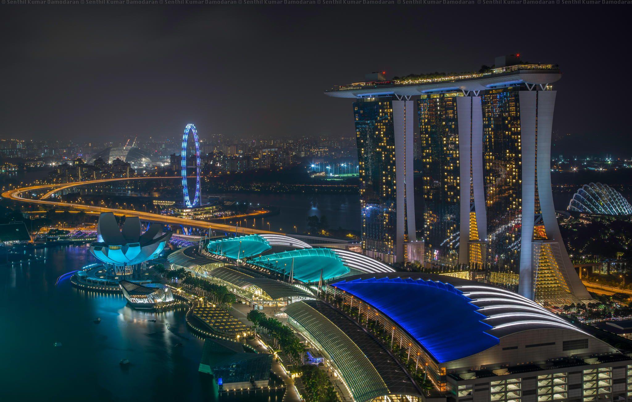 Fotografía Marina Bay Lights por Senthil Kumar Damodaran en 500px Marina Bay Sands, Singapur.