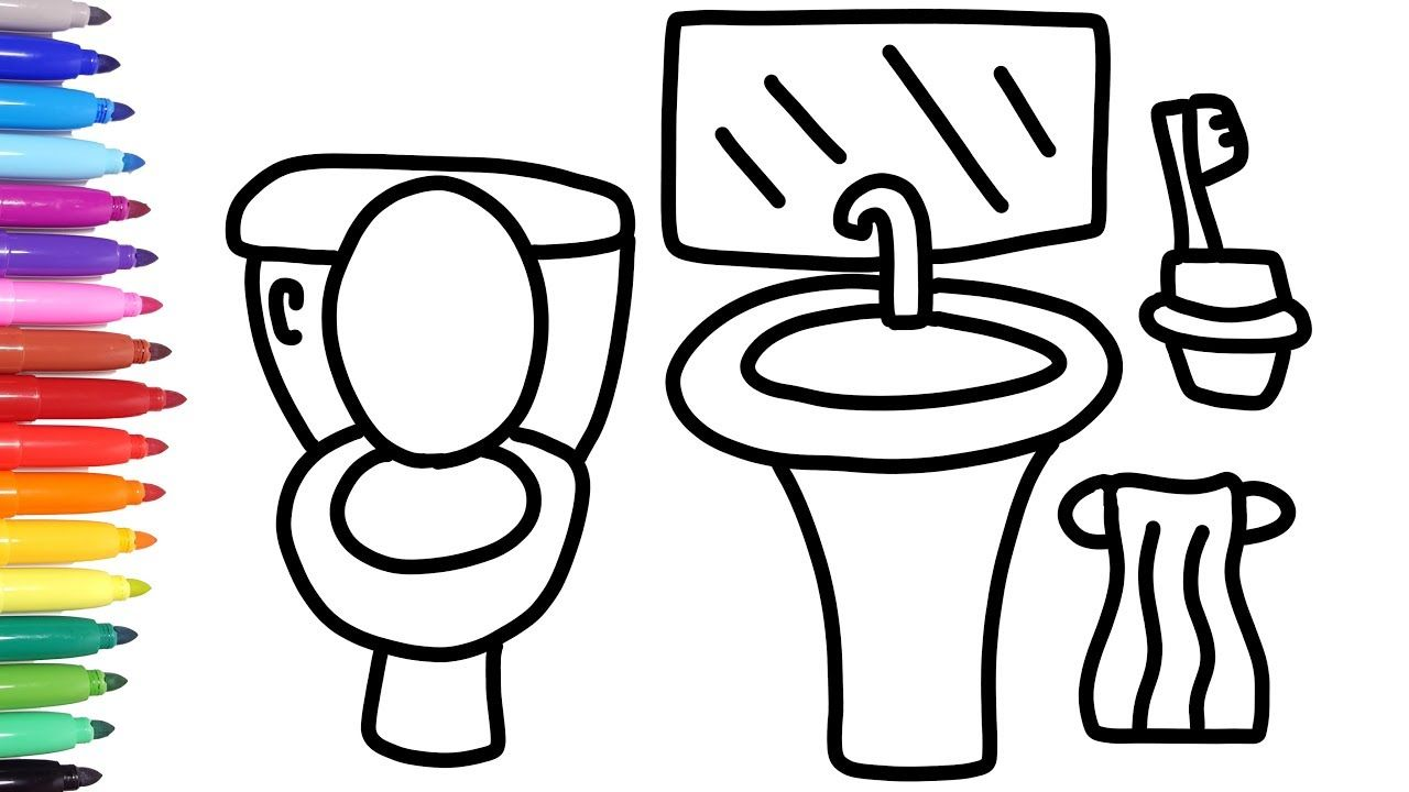 How To Draw A Bathroom Bathroom Coloring Pages For Kids How To