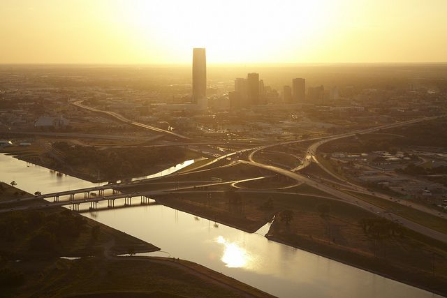 Downtown Oklahoma City and River at Sunset by Greater Oklahoma City Chamber & CVB, via Flickr