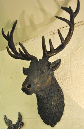 Large Deer Stag Head Wall Mount - Antique Gold and Bronze | Stag ...