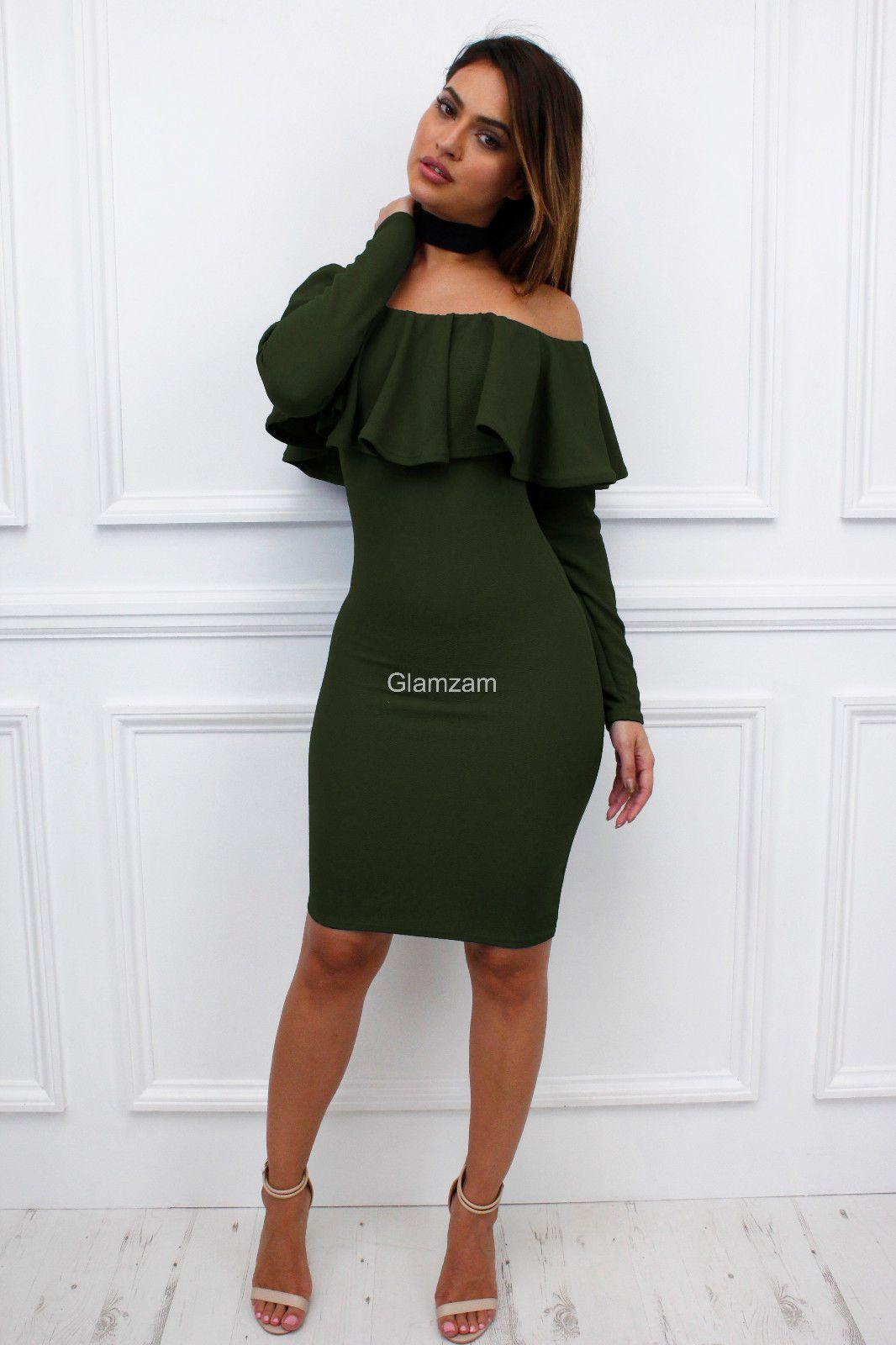 b806fdd497da Glamzam Womens Ladies Khaki Off Shoulder Bardot Long Sleeve Frill Bodycon  Dress