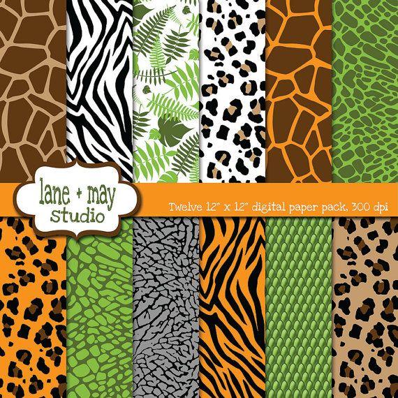 digital scrapbook papers safari jungle animal print