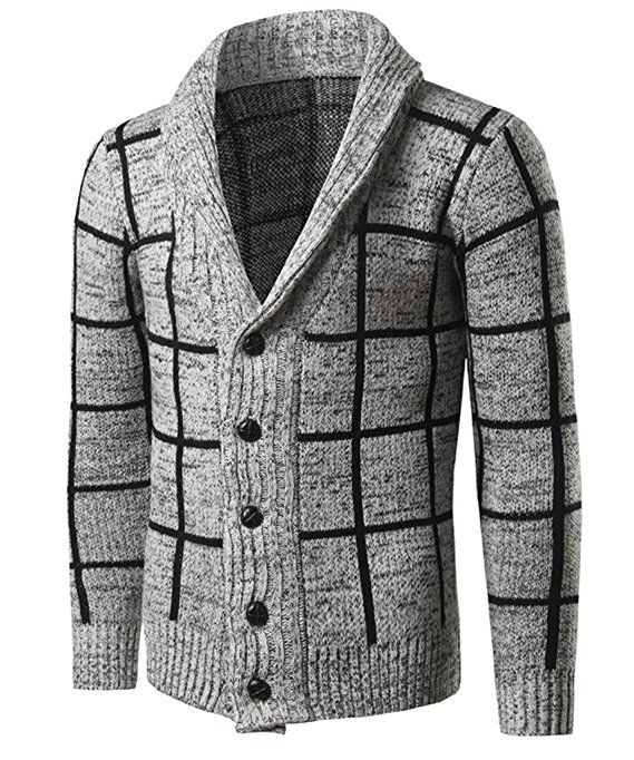 CIC Collection Men's Plaid Shawl Collar Cardigan Sweater ( Order 2 ...