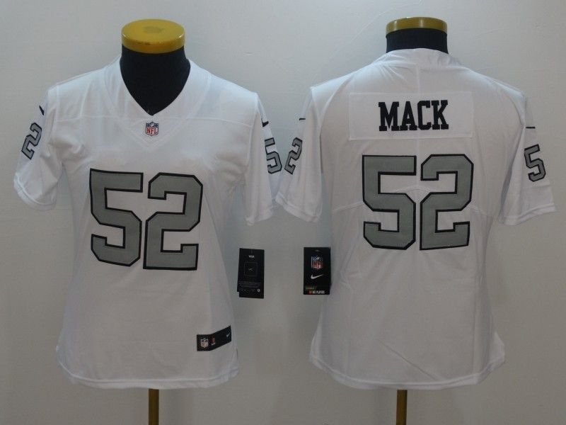 low priced edcb5 b9b8f Womens Oakland Raiders 52 Mack Navy White Color Rush Limited ...