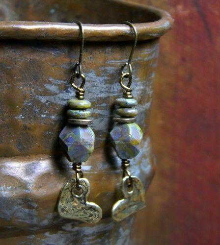 Bronze Heart Charm Earrings Czech Glass Brass OOAK