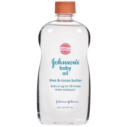 Jonnson & johnson Baby Oil with Shea and Cocoa Butter 14 oz. by Johnson & Johnson. $6.79. Locks in up to 10 times more moisture Mildness clinically proven Enriched with natural, nourishing ingredients Contains Cocoa Butter, known for its skin nourishing properties, as well as Shea, known for its skin conditioning. It s a silky soft moisturizer for silky soft skin. Johnson s® Baby Oil locks in up to ten times more moisture on wet skin than an ordinary lotion can on dry ...