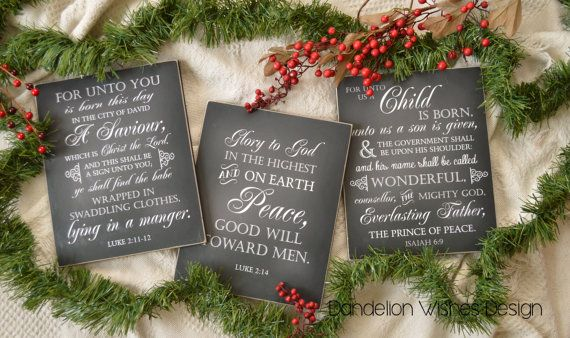 Christmas decoration sign set glory to god for unto you is