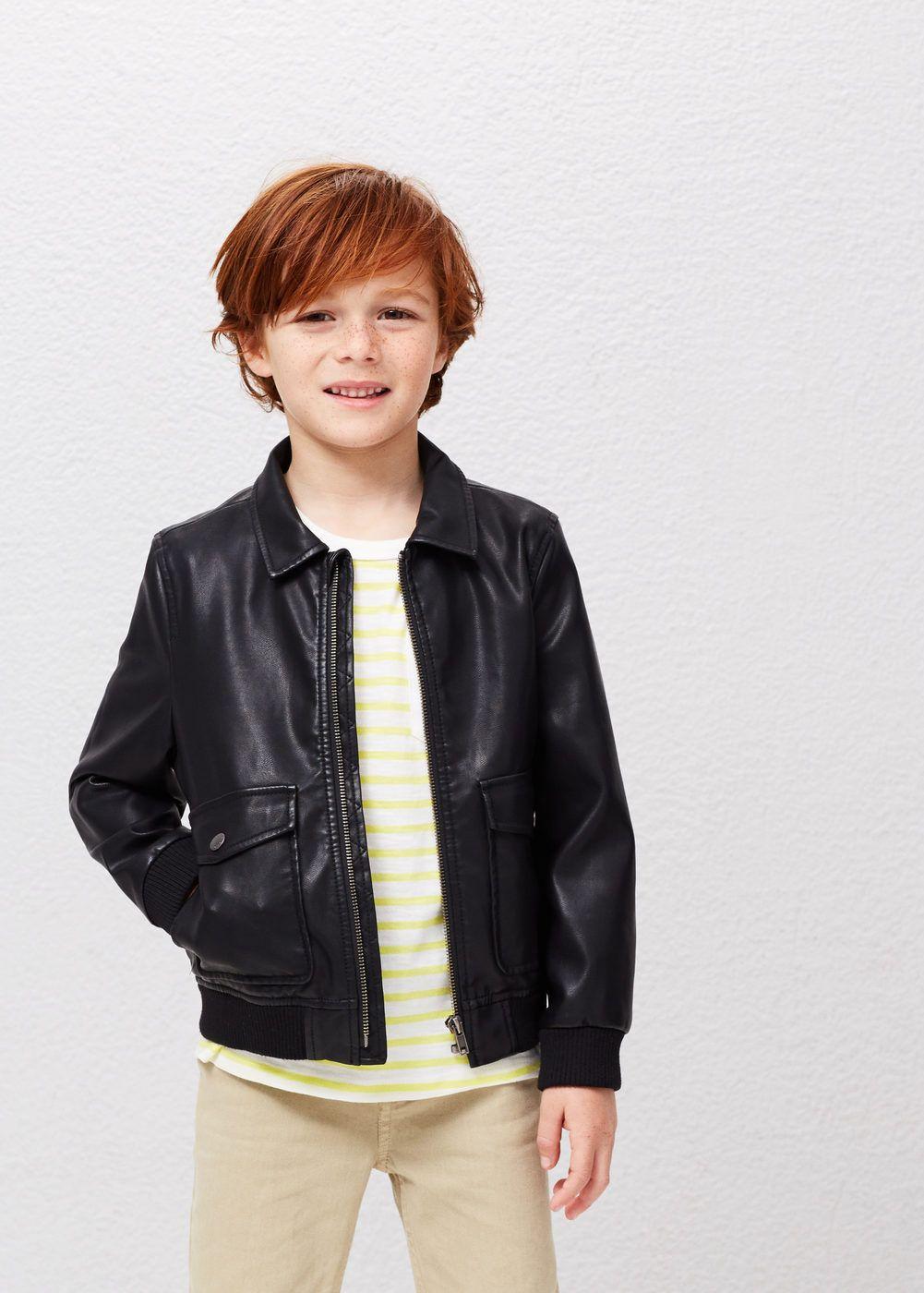 Leather jacket boy - Mango Kids