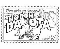 North Dakota State Stamp Coloring Page A Class Pintag Searchlink