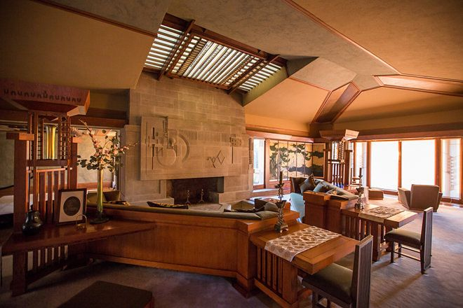 Tour Frank Lloyd Wright S Fully Restored Hollyhock House Frank Lloyd Wright Frank Lloyd Wright Homes Frank Lloyd Wright Interior