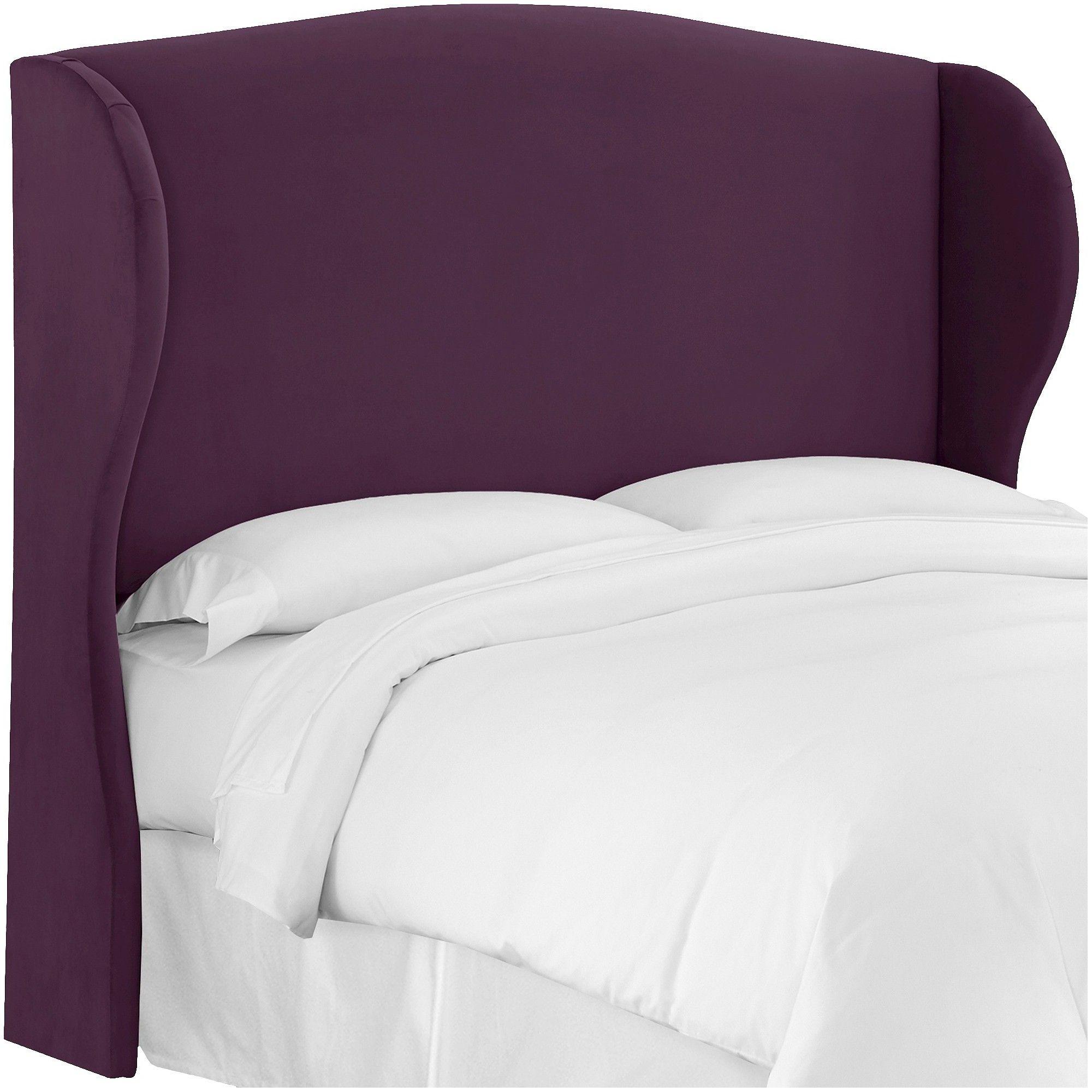 Skyline Tilton Fenwick Wingback Headboard - Velvet - Skyline Furniture, Velvet Aubergine