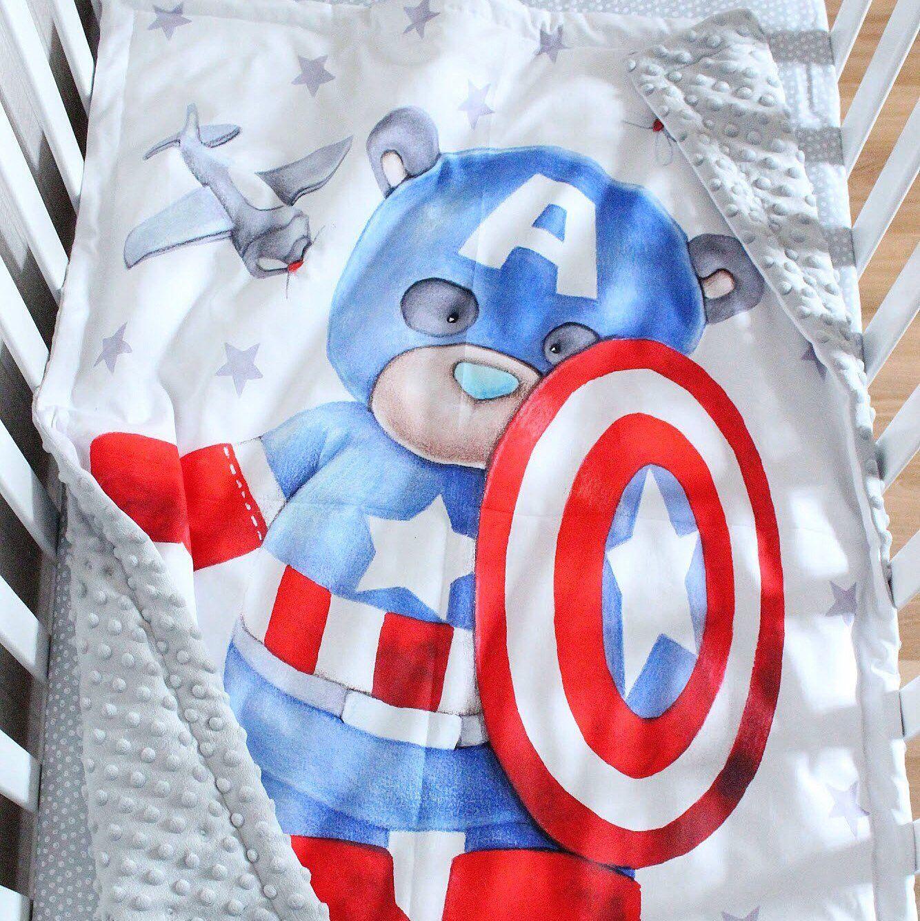 Superhero Baby Blanket- Blue Superhero Nursery, Nerd Baby Comic Book Baby Blanket Red and Gray