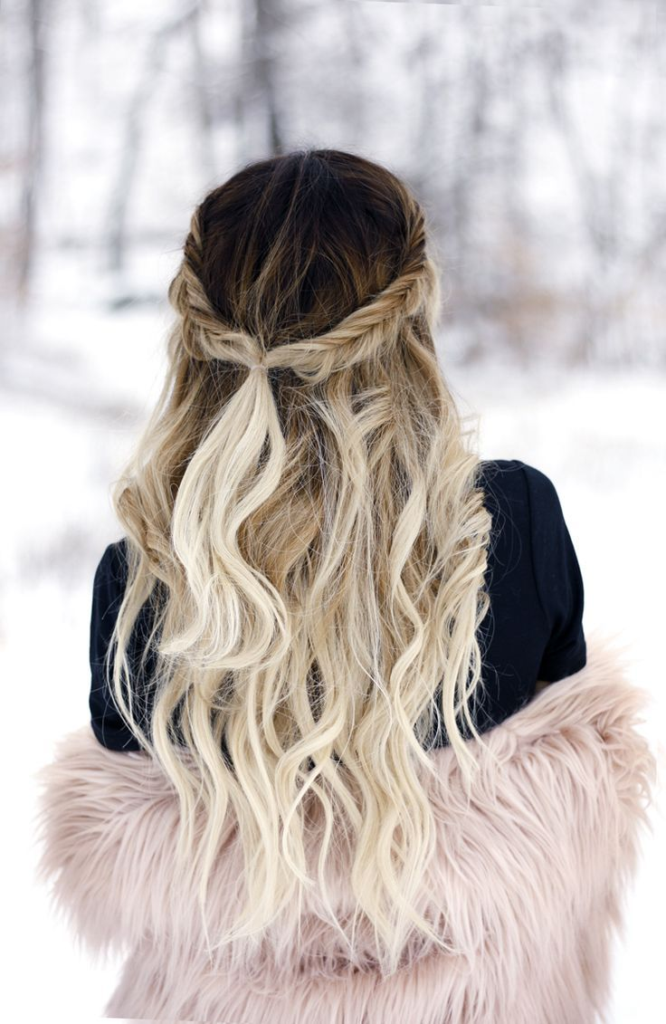 The day after the storm in pink faux fur fishtail braids fishtail