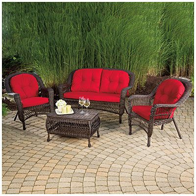 Wilson U0026 Fisher® Charleston Resin Wicker Seating Set At Big Lots For Screen  Porch. 2 Chairs, 2 Loveseats, No Coffee Table. All Have Red Cushions.