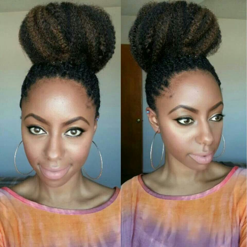 high bun marley hair | bun life | natural hair bun styles