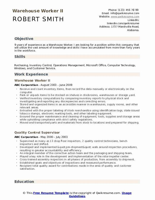 Resume Examples For Warehouse Worker New Warehouse Worker Resume Samples In 2020 Resume Examples Video Resume Professional Resume Samples