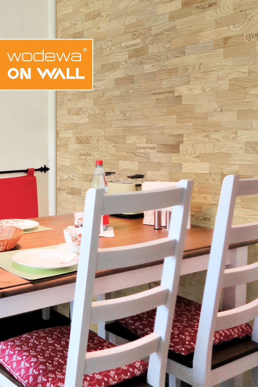 Gestaltung Von Kuchenwanden Mit Wodewa Beschriftete Holzriemchen In 2020 Wandpaneele Kuche Kuchenwand Wandverkleidung